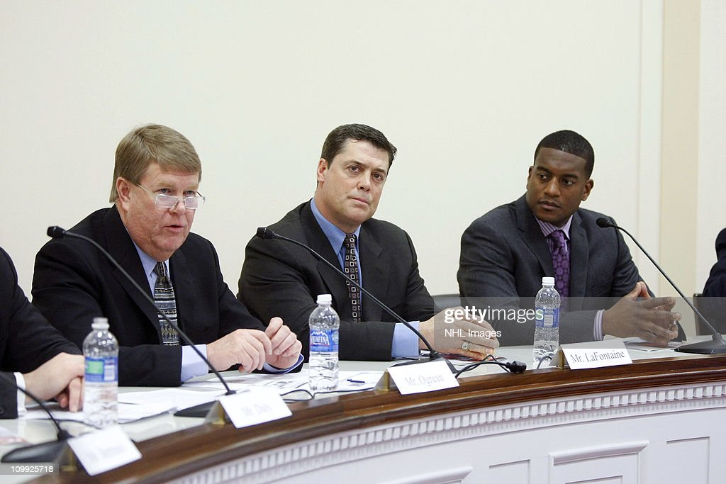 Dave Ogrean, Pat LaFontaine and Kevin Weekes attend the Congressional Hockey Caucus Briefing at the Rayburn House Office Building on March 10, 2011 in Washington, DC.