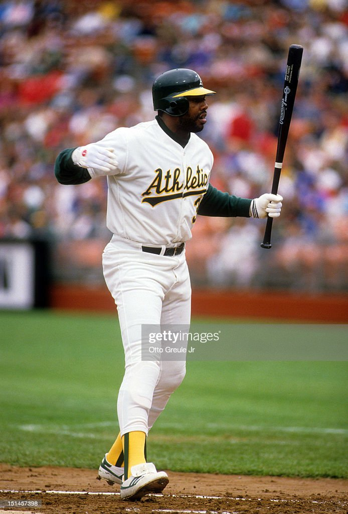 Dave Parker of the Oakland Athletics argues a call during an MLB game circa 1989 at Oakland Alameda County Stadium in Oakland California
