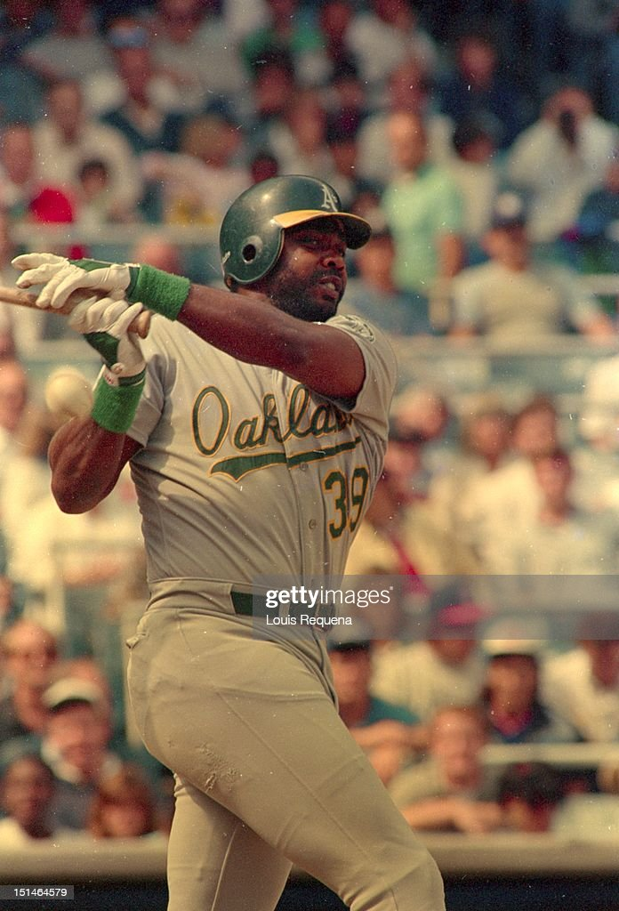 Dave Parker of the Oakland Athletics bats against the New York Yankees during an American League game at Yankee Stadium in the Bronx borough of...