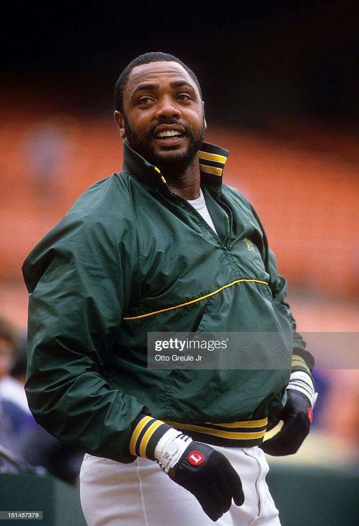 Dave Parker of the Oakland Athletics warms up before an MLB game against the California Angels circa 1989 at Angel Stadium in Anaheim California