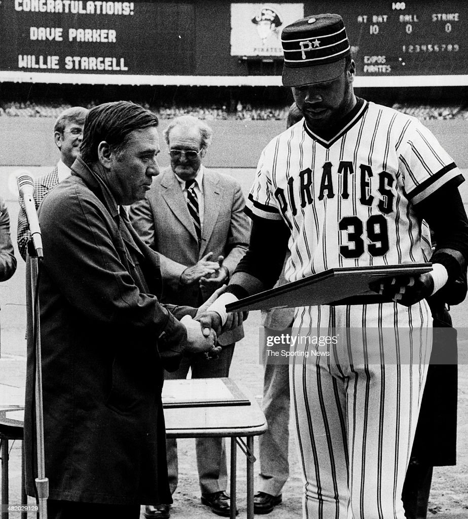 Dave Parker of the Pittsburgh Pirates gets an award circa 1980s