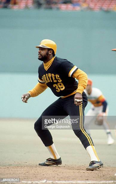 Dave Parker of the Pittsburgh Pirates leads off first base during a Major League Baseball game against the Houston Astros at Three Rivers Stadium in...