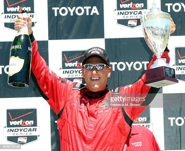 Dave Pasant celebrates after finishing in second place during the 38th Annual Toyota Pro/Celebrity Race at the Grand Prix of Long Beach on April 18...