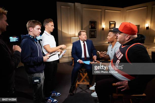 Dave Piendak Glen Clements James Longman James Corden Damian Lillard and Ian Karmel discuss a sketch during 'The Late Late Show with James Corden'...