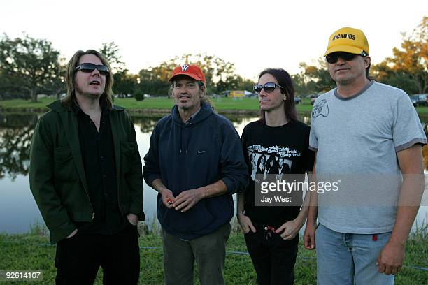 Dave Pirner of Soul Asylum poses with Cris Kirkwood Shandon Sahm and Curt Kirkwood of the Meat Puppets back stage at the 2009 Voodoo Experience at...
