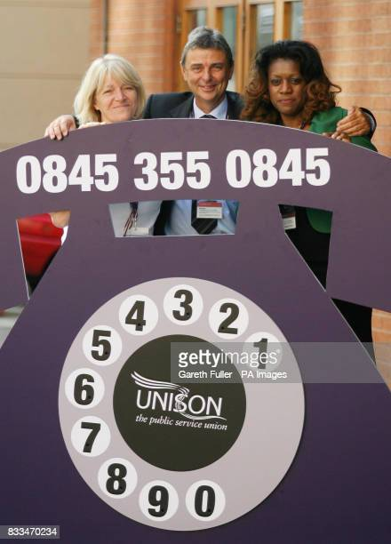 Dave Prentis General Secretary of UNISON is accompanied by Karen Jennings UNISON Head of Health and Eleanor Smith a hospital theatre nurse at the...