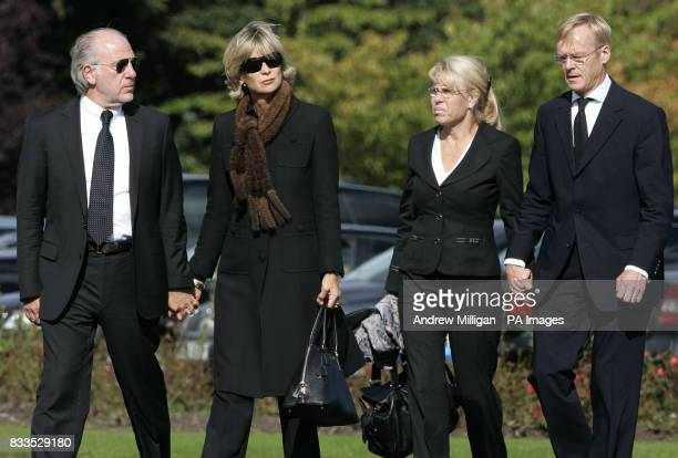 Dave Richards with couple on right Ari Vatanen arrives at the funeral of Colin McRae and his son Johnny at East Chapel Daldowie Crematorium