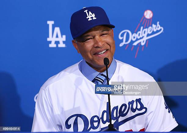 Dave Roberts speaks during a press conference to introduce him as the new Los Angeles Dodgers Manager at Dodger Stadium on December 1 2015 in Los...