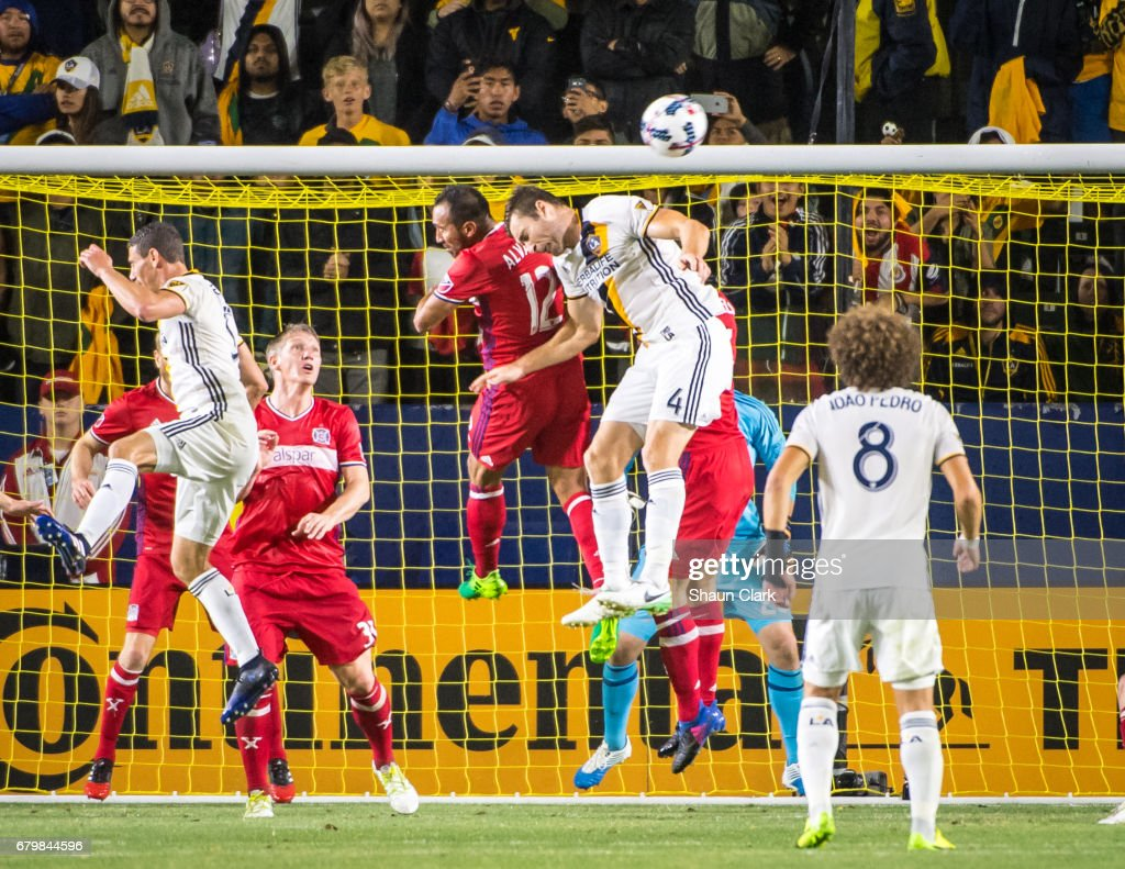 Dave Romney #4 of Los Angeles Galaxy gets a head on the ball during Los Angeles Galaxy's MLS match against Chicago Fire at the StubHub Center on May 6, 2017 in Carson, California. The match ended in a 2-2 tie.