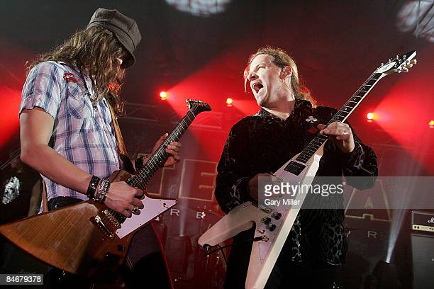 Dave Rude and Frank Hannon of the band Tesla perform in concert at La Zona Rosa on February 6 2009 in Austin Texas