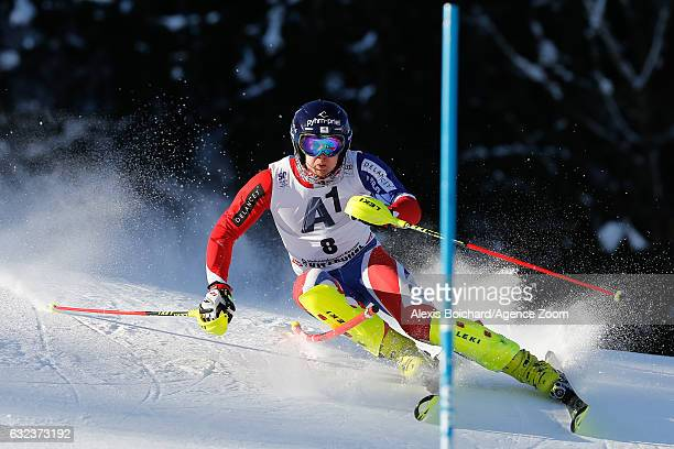 Dave Ryding of Great Britain competes during the Audi FIS Alpine Ski World Cup Men's Slalom on January 22 2017 in Kitzbuehel Austria