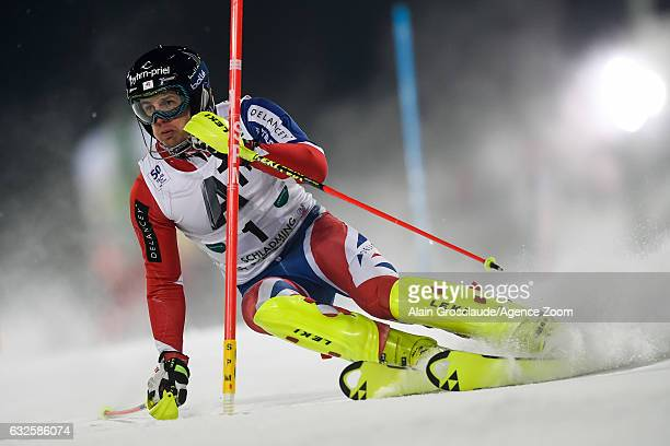 Dave Ryding of Great Britain competes during the Audi FIS Alpine Ski World Cup Men's Slalom on January 24 2017 in Schladming Austria