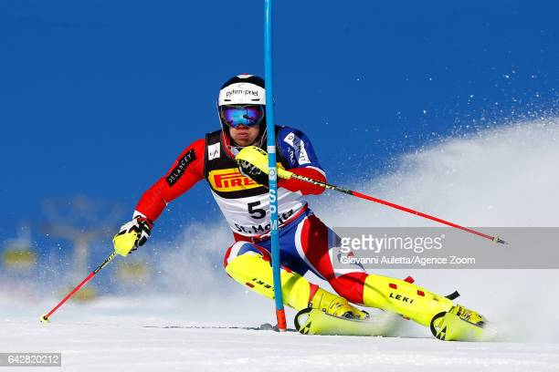 Dave Ryding of Great Britain competes during the FIS Alpine Ski World Championships Men's Slalom on February 19 2017 in St Moritz Switzerland