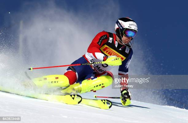 Dave Ryding of Great Britain competes in the Men's Slalom during the FIS Alpine World Ski Championships on February 19 2017 in St Moritz Switzerland