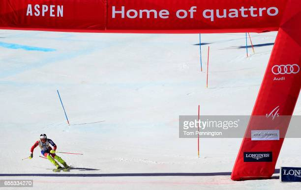 Dave Ryding of Great Britain crosses the finish line during the men's Slalom during the 2017 Audi FIS Ski World Cup Finals at Aspen Mountain on March...