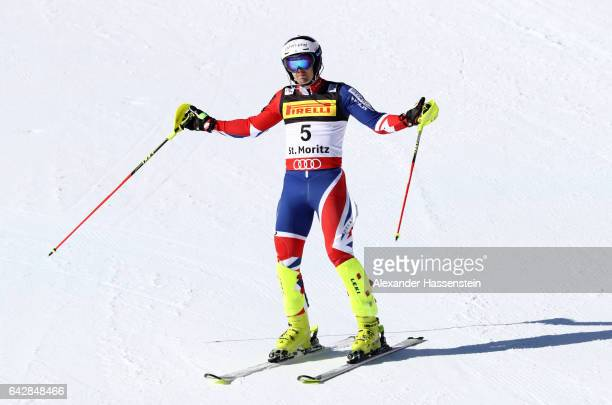 Dave Ryding of Great Britain reacts at the finish in the Men's Slalom during the FIS Alpine World Ski Championships on February 19 2017 in St Moritz...