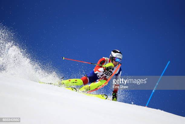 Dave Ryding of Great Britain skis his second run in the men's slalom during the 2017 Audi FIS Ski World Cup Finals at Aspen Mountain on March 19 2017...