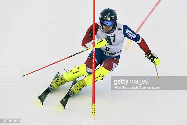 Dave Ryding of Great Britain takes 2nd place during the Audi FIS Alpine Ski World Cup Men's Slalom on January 22 2017 in Kitzbuehel Austria