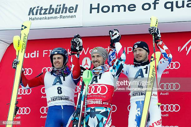Dave Ryding of Great Britain takes 2nd place Marcel Hirscher of Austria takes 1st place Alexander Khoroshilov of Russia takes 3rd place during the...