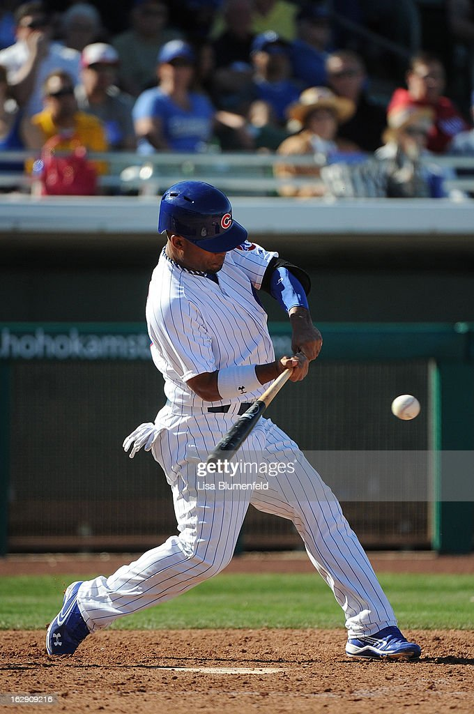 <a gi-track='captionPersonalityLinkClicked' href=/galleries/search?phrase=Dave+Sappelt&family=editorial&specificpeople=7510516 ng-click='$event.stopPropagation()'>Dave Sappelt</a> #17 of the Chicago Cubs bats against the Los Angeles Dodgers on February 27, 2013 at HoHoKam Park in Mesa, Arizona.