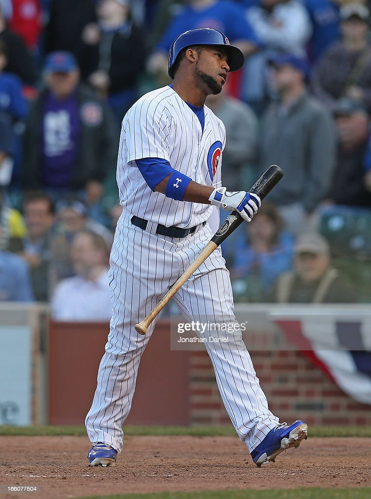 <a gi-track='captionPersonalityLinkClicked' href=/galleries/search?phrase=Dave+Sappelt&family=editorial&specificpeople=7510516 ng-click='$event.stopPropagation()'>Dave Sappelt</a> #17 of the Chicago Cubs reacts after striking out in the 9th inning with the bases loaded against the Milwaukee Brewers during the Opening Day game at Wrigley Field on April 8, 2013 in Chicago, Illinois. The Brewers defeated the Cubs 7-4.