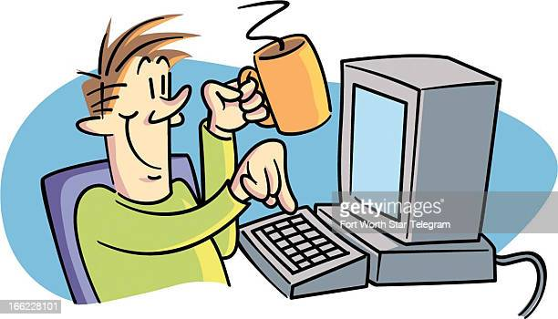 Dave Seymour color illustration of happy guy with coffee mug at computer ready to send email