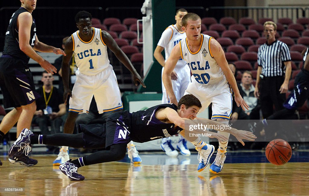 Dave Sobolewski #3 of the Northwestern Wildcats loses the ball under pressure from Bryce Alford #20 of the UCLA Bruins during the Continental Tire Las Vegas Invitational at the Orleans Arena on November 29, 2013 in Las Vegas, Nevada. UCLA won 95-79.