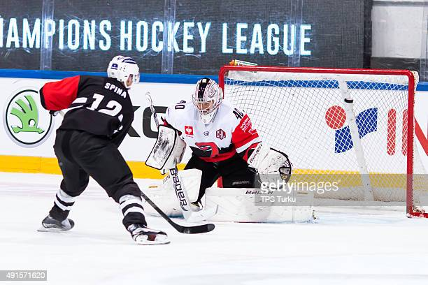Dave Spina of TPS scores his third goal during the Champions Hockey League round of thirtytwo game between TPS Turku and JYP Jyvaskyla at HK Areena...