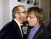 Dave Stewart and Bill Wyman during Anoushka Fisz Exhibition Opening At Eye Storm Gallery at Eye Storm Gallery in London Great Britain