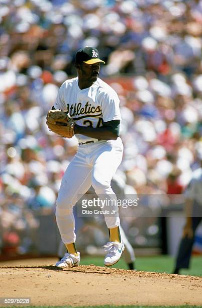 Dave Stewart of the Oakland Athletics pitches during a game in the 1989 season at OaklandAlameda Coliseum in Oakland California