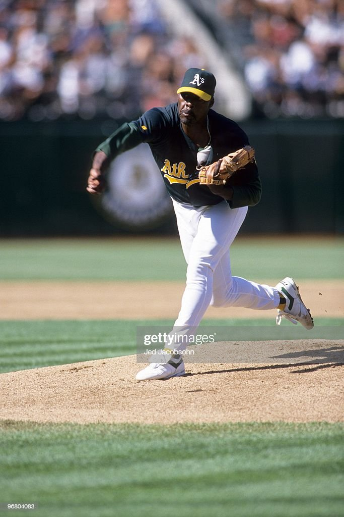 Dave Stewart of the Oakland Athletics pitches during an MLB game against the Toronto Blue Jays on July 8 1995 at OaklandAlameda County Coliseum in...