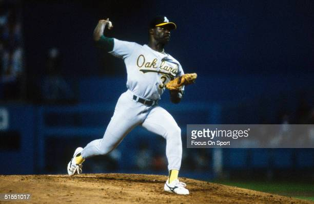 Dave Stewart of the Oakland Athletics throws the first pitch of the 1988 World Series at Dodger Stadium in Los Angeles California on October 15 1988...