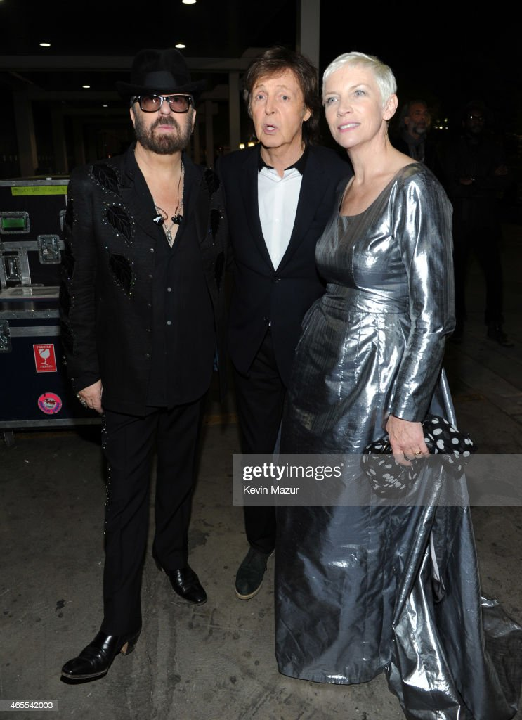 <a gi-track='captionPersonalityLinkClicked' href=/galleries/search?phrase=Dave+Stewart+-+Musician&family=editorial&specificpeople=206833 ng-click='$event.stopPropagation()'>Dave Stewart</a>, <a gi-track='captionPersonalityLinkClicked' href=/galleries/search?phrase=Paul+McCartney&family=editorial&specificpeople=92298 ng-click='$event.stopPropagation()'>Paul McCartney</a> and <a gi-track='captionPersonalityLinkClicked' href=/galleries/search?phrase=Annie+Lennox&family=editorial&specificpeople=157714 ng-click='$event.stopPropagation()'>Annie Lennox</a> attend 'The Night That Changed America: A GRAMMY Salute To The Beatles' at Los Angeles Convention Center on January 27, 2014 in Los Angeles, California.