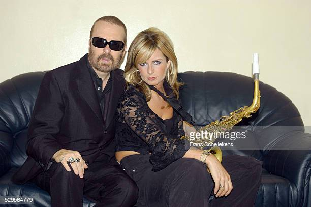 Dave Stewart poses with Candy Dulfer at the Paradiso on November 11th 2002 in Amsterdam Netherlands
