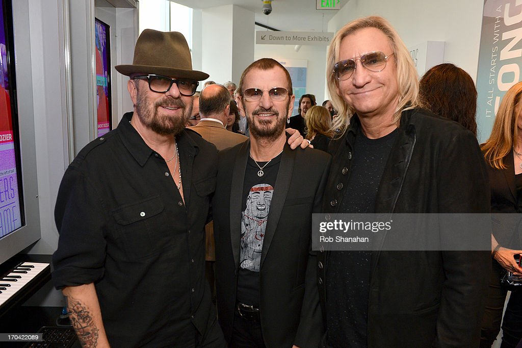 Dave Stewart, <a gi-track='captionPersonalityLinkClicked' href=/galleries/search?phrase=Ringo+Starr&family=editorial&specificpeople=92463 ng-click='$event.stopPropagation()'>Ringo Starr</a> and <a gi-track='captionPersonalityLinkClicked' href=/galleries/search?phrase=Joe+Walsh+-+Singer&family=editorial&specificpeople=223888 ng-click='$event.stopPropagation()'>Joe Walsh</a> attend 'Ringo: Peace & Love' at The GRAMMY Museum on June 12, 2013 in Los Angeles, California.