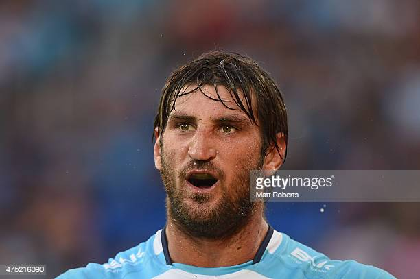 Dave Taylor of the Titans looks on during the round 12 NRL match between the Gold Coast Titans and the South Sydney Rabbitohs at Cbus Super Stadium...