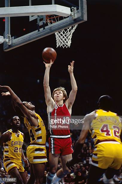 Dave Twardzik of the Portland Trailblazers goes for a layup against the Cleveland Cavaliers during an NBA game in January 20 1977 in Cleveland Ohio...