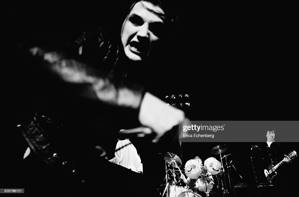 Dave Vanian of The Damned performs on stage in Birmingham, United Kingdom, 1977.