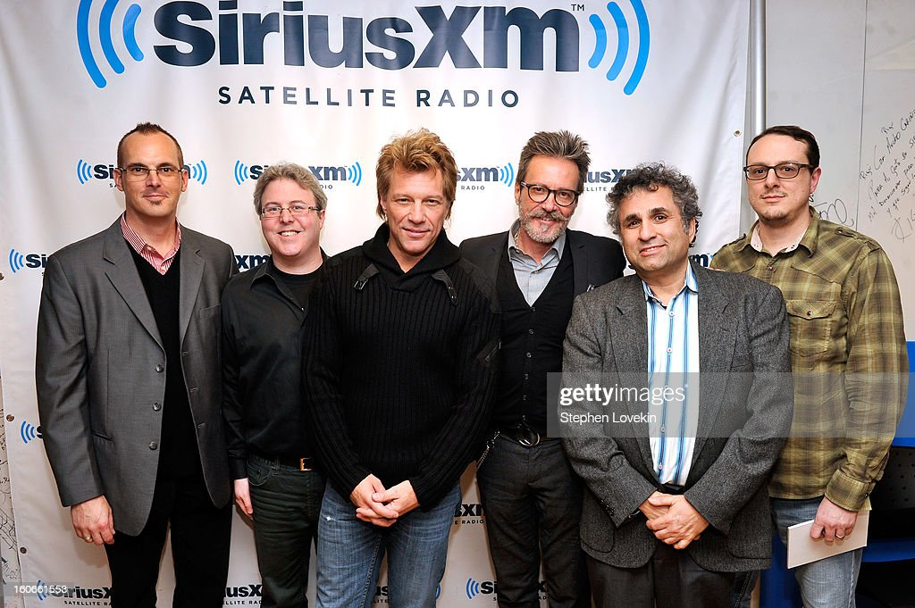 Dave Wellington, Randy Dry, Jon Bon Jovi, Gregg Steele, Steve Leeds and Joey Black attend 'SiriusXM's Town Hall with Jon Bon Jovi' and moderator Savannah Guthrie at the SiriusXM studios on February 4, 2013 in New York City.