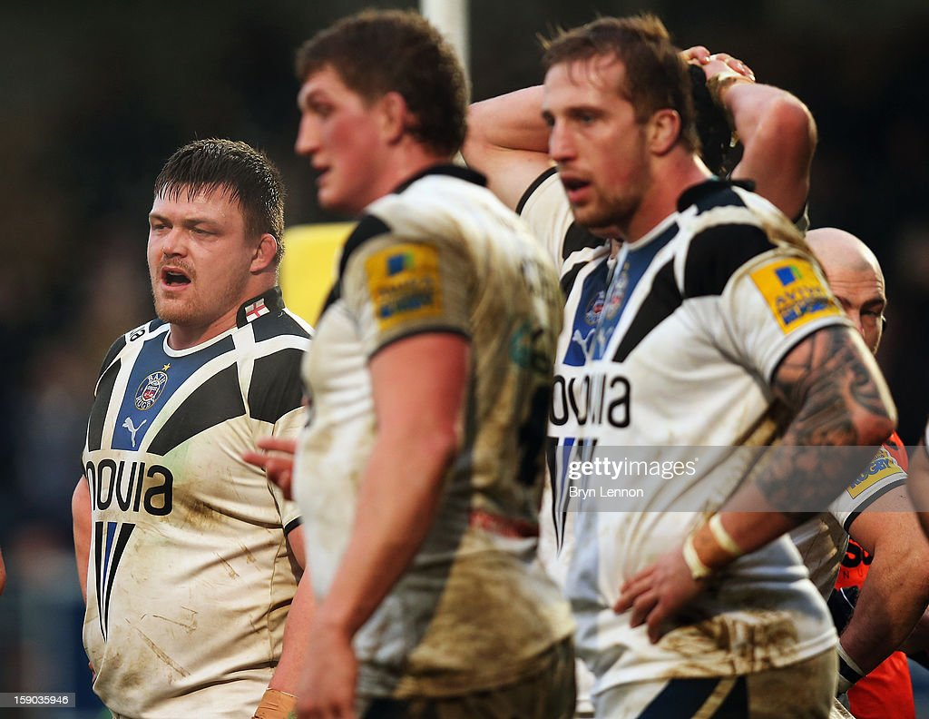 Dave Wilson of Bath Rugby looks on during the Aviva Premiership match between London Wasps and Bath at Adams Park on January 6, 2013 in High Wycombe, England.