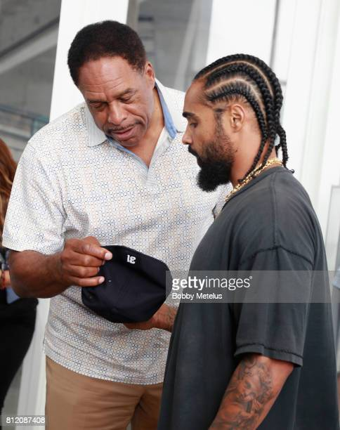 Dave Winfield and Jerry Lorenzo attend the New Era Cap X Fear Of God Pop Up at Alchemist on July 10 2017 in Miami Beach Florida