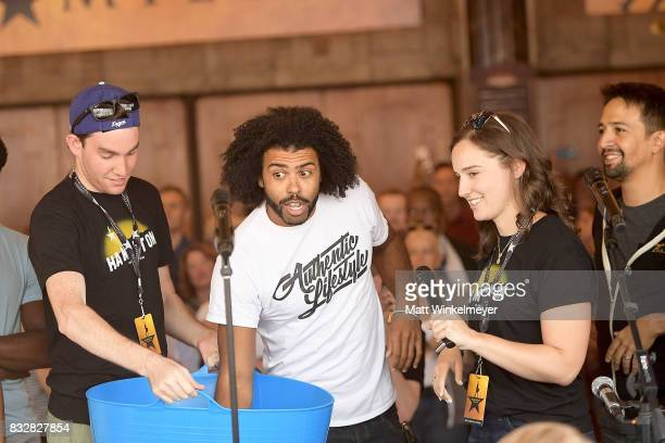 Daveed Diggs and LinManuel Miranda announce lottery ticket winners at the #Ham4Ham featuring LinManuel Miranda at the Pantages Theatre on August 16...