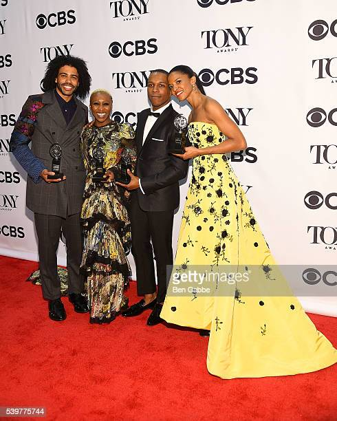 Daveed Diggs Cynthia Erivo Leslie Odom Jr and Renee Elise Goldsberry pose in the press room with their awards at the 70th Annual Tony Awards at The...