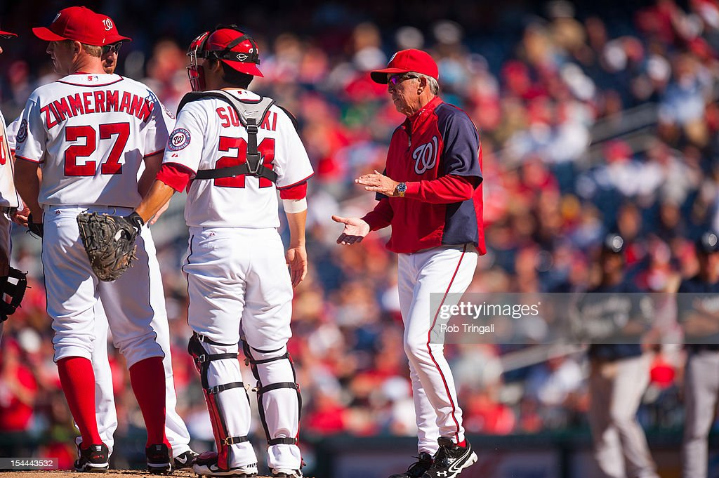 Davey Johnson manager of the Washington Nationals makes a pitching change during the game against the Milwaukee Brewers at Nationals Park on Monday...