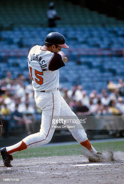 Davey Johnson of the Baltimore Orioles bat during an Major League Baseball game circa 1967 at Memorial Stadium in Baltimore Maryland Johnson played...