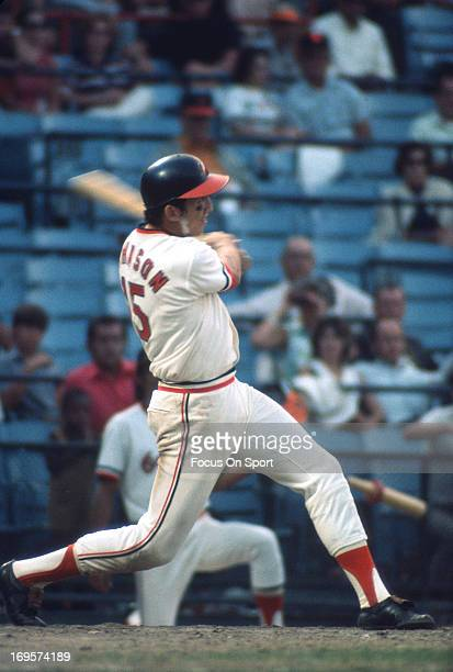 Davey Johnson of the Baltimore Orioles bats during an Major League Baseball game circa 1972 at Memorial Stadium in Baltimore Maryland Johnson played...