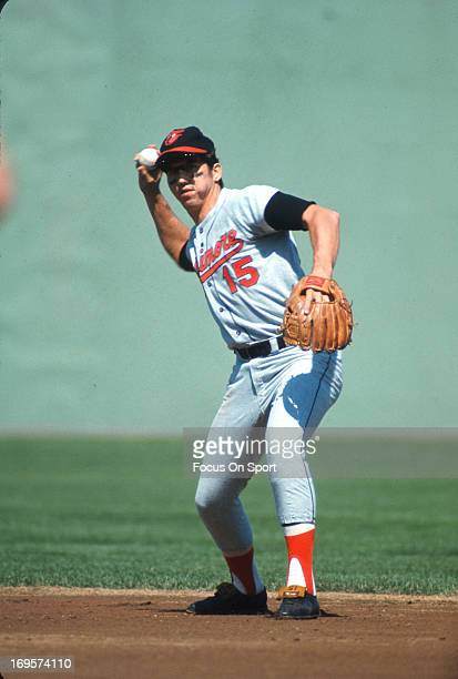 Davey Johnson of the Baltimore Orioles sets to make a throw to first base during an Major League Baseball game circa 1969 Johnson played for the...