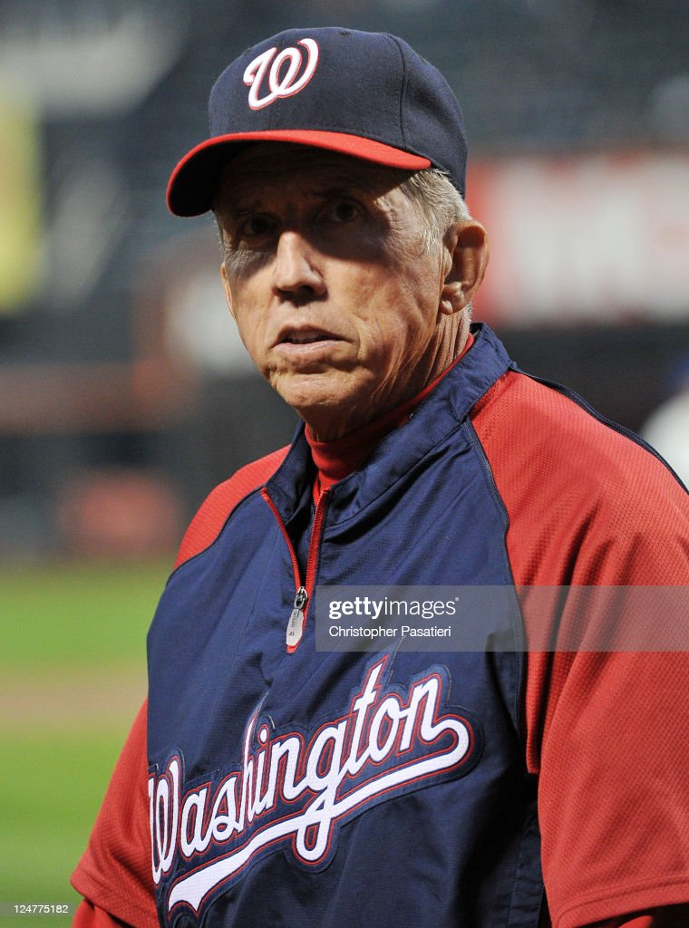 <a gi-track='captionPersonalityLinkClicked' href=/galleries/search?phrase=Davey+Johnson+-+Baseball+Manager&family=editorial&specificpeople=93273 ng-click='$event.stopPropagation()'>Davey Johnson</a> #5 of the Washington Nationals walks back to the dugout prior to the game against the New York Mets at Citi Field on September 12, 2011 in the Flushing neighborhood of the Queens borough of New York City.