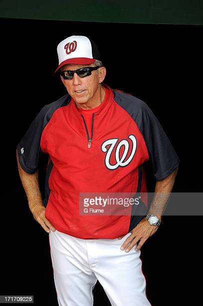 Davey Johnson of the Washington Nationals watches batting practice before the game against the Arizona Diamondbacks at Nationals Park on June 25 2013...