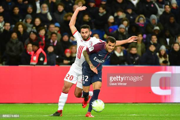 Davi Alves of PSG and Thiago Maia of Lille during the Ligue 1 match between Paris Saint Germain and Lille OSC at Parc des Princes on December 9 2017...